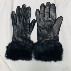 Accessories - Leather and Fur Gloves- Cashmere lined